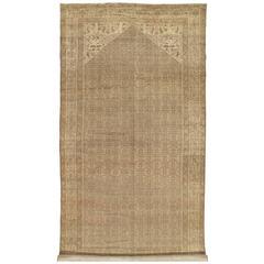 Antique Malayer Carpet, Handmade Oriental Rug, Ivory, Taupe, Gray, Light Brown