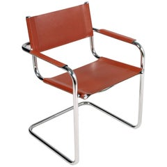 "Italian S 33"" Leather and Chrome Cantilever Chair, Designer Mart Stam circa 1970"