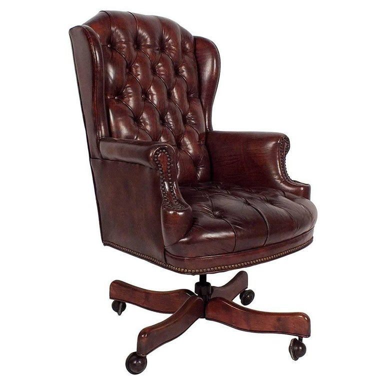 Leather Tufted Chesterfield Style Office Chair At 1stdibs