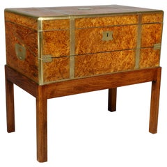 Regency Burl Elm Campaign Lap Desk on Stand