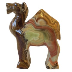 Onyx Marble Camel Sculpture, ca. 1970s