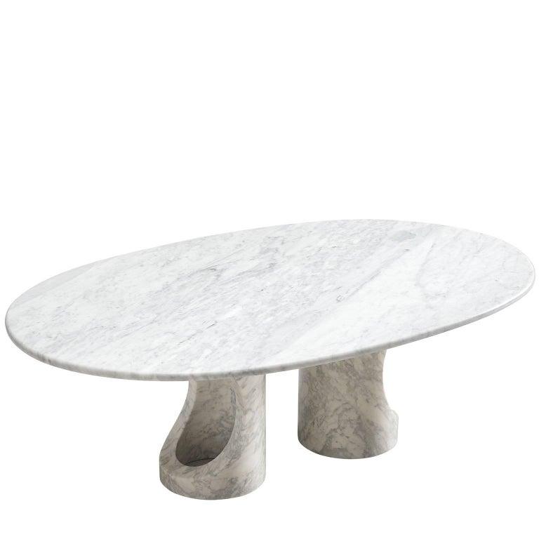 Postmodern Oval Marble Coffee Table At 1stdibs