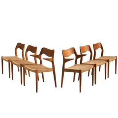 Niels O. Moller Set of Six Dining Chairs in Teak and Cane Upholstery