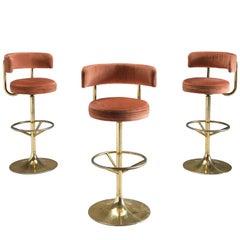 Set of Three Pink Velvet Barstools by Borje Johanson