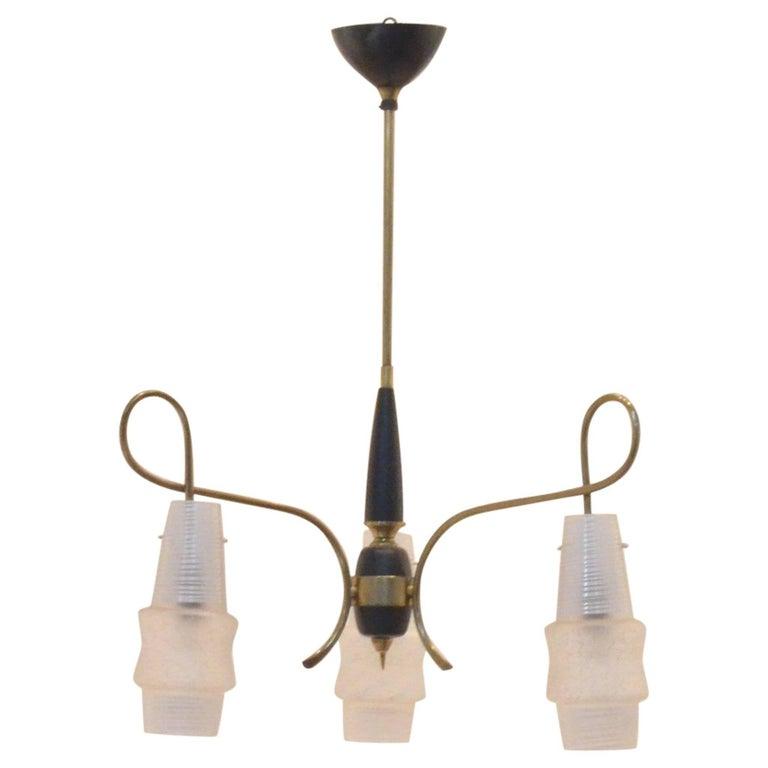 Mid-Century Modern Italian Design Brass Glass 1950s Organic Chandelier For Sale