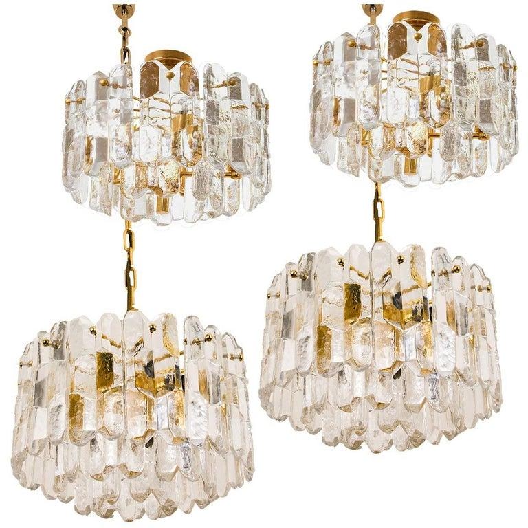 Set of Four Kalmar Light Fixtures Gilt Brass and Glass