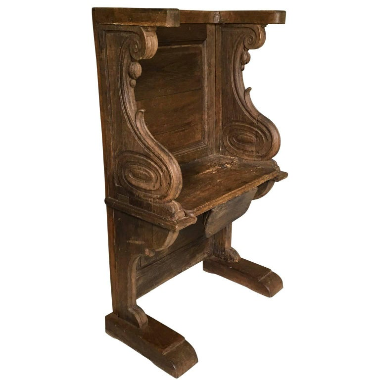 Early Gothic Medieval Cathedral Solid Oak Misericord Bench Chair