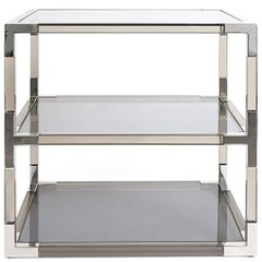 Jacques Side Table in Smoke Lucite and Nickel