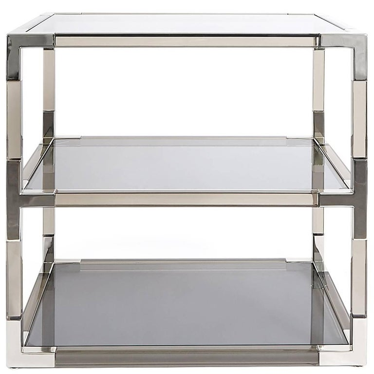 Jacques Side Table in Smoke Lucite and Nickel For Sale