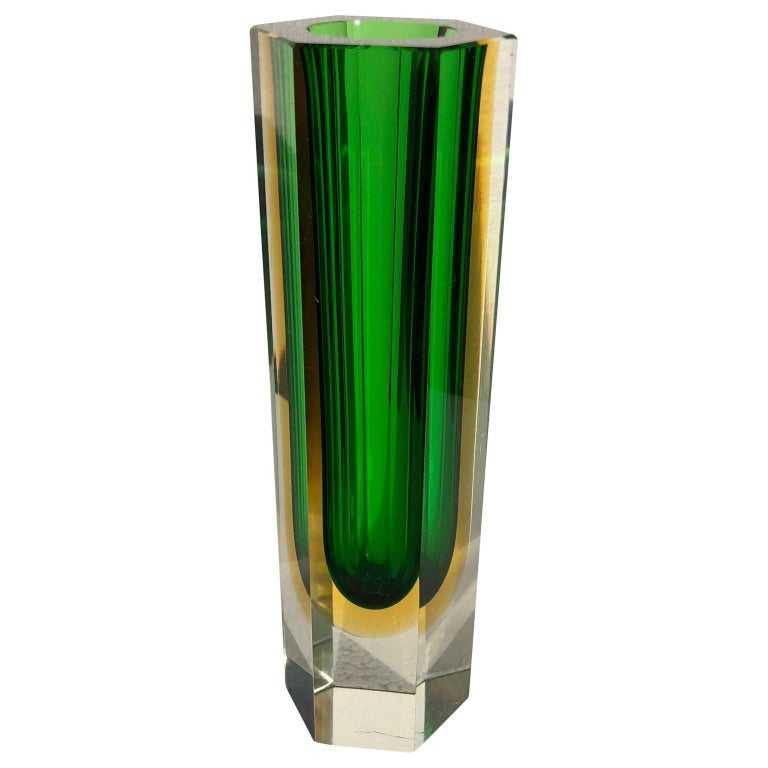 Green and Yellow Italian Glass Vase by Murano Sommerso, 1960s