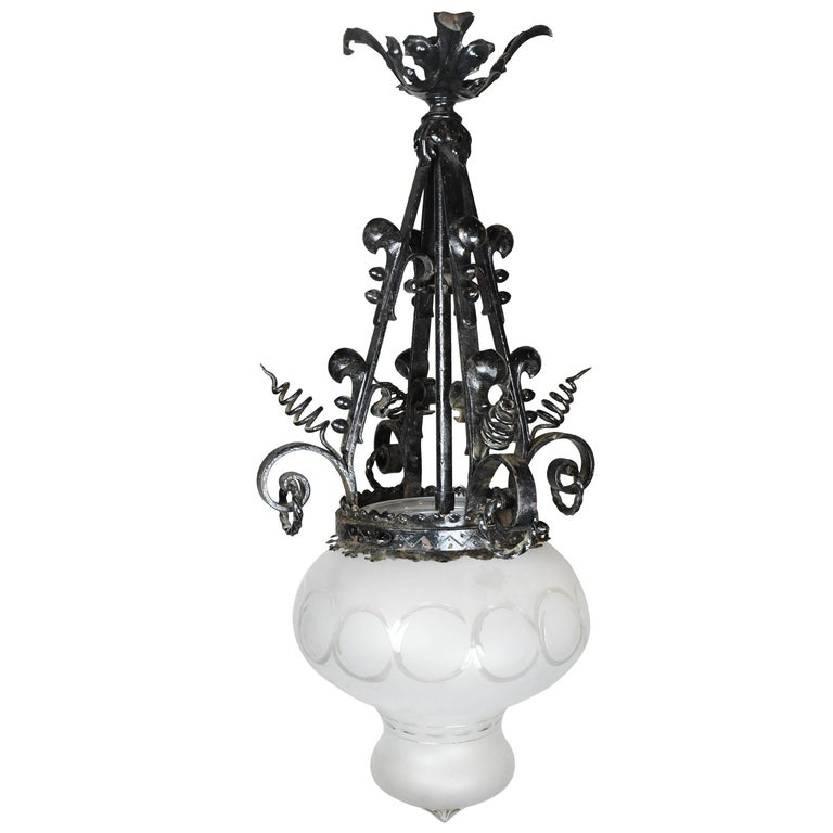 Iron Victorian Pendant with Glass Shade