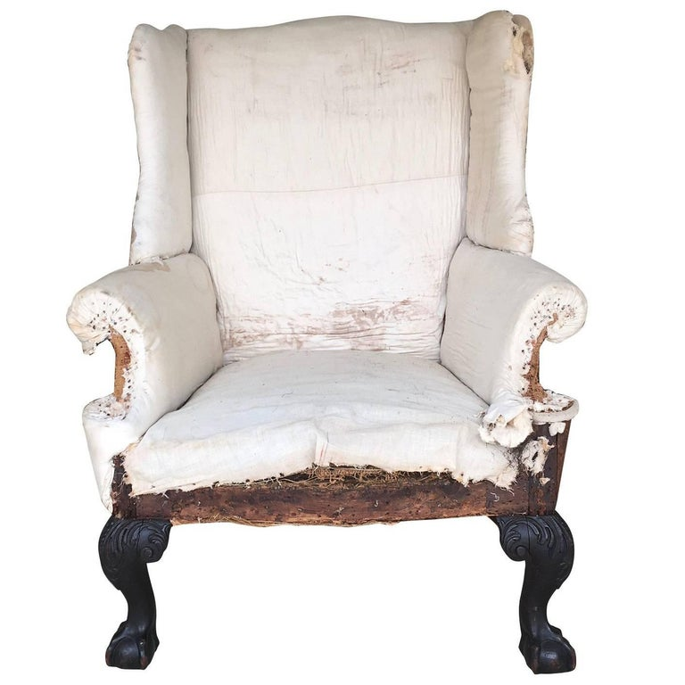 Philadelphia 18th Century Chippendale Ball Claw Foot Wing Chair