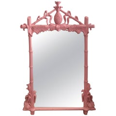 Gampel & Stoll Newly Lacquered Flamingo Pink Pineapple Faux Bamboo Wall Mirror