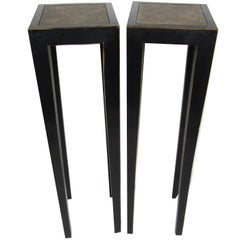 Pair of Vintage Chinese Black Lacquer Cane Topped Pedestals