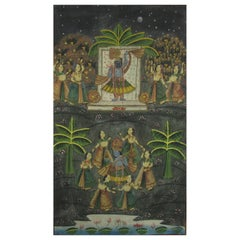 Vintage Indian Pichwei Painted Textile of Krishna