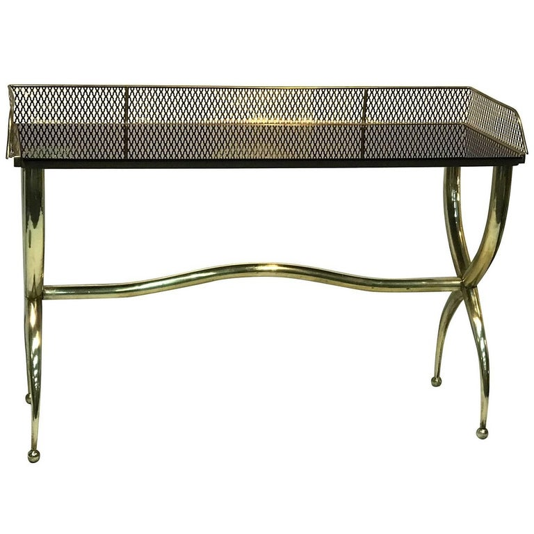 Italian Brass Console Table 20th Century Signed