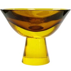 Flavio Poli Seguso Vetri d'Arte Murano Golden Sommerso Italian Art Glass Bowl