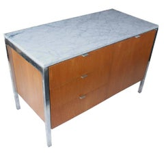 Vintage Florence Knoll Style Carrara Marble and Chrome Cabinet