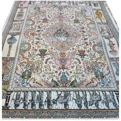 Naami Zir Khaki (Maralan Tabriz)-Genuine Hand-Knotted Persian Tabriz Rug Carpet