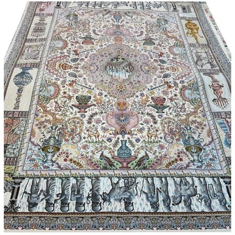 Naami Zir Khaki (Maralan Tabriz)-Genuine Hand-Knotted Persian Tabriz Rug Carpet 1