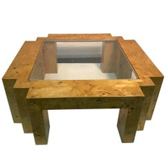 Italian Burl Wood Glass Top Coffee Table