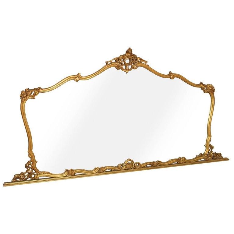 19th Century Venetian Baroque Wall Mirror Hand-Carved Gilt Walnut Gold Leaf