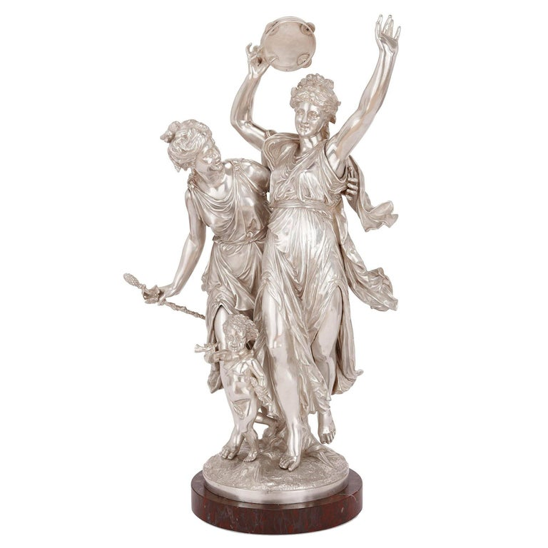 19th Century Antique Silvered Bronze Neoclassical Figures by J-L Gregoire For Sale