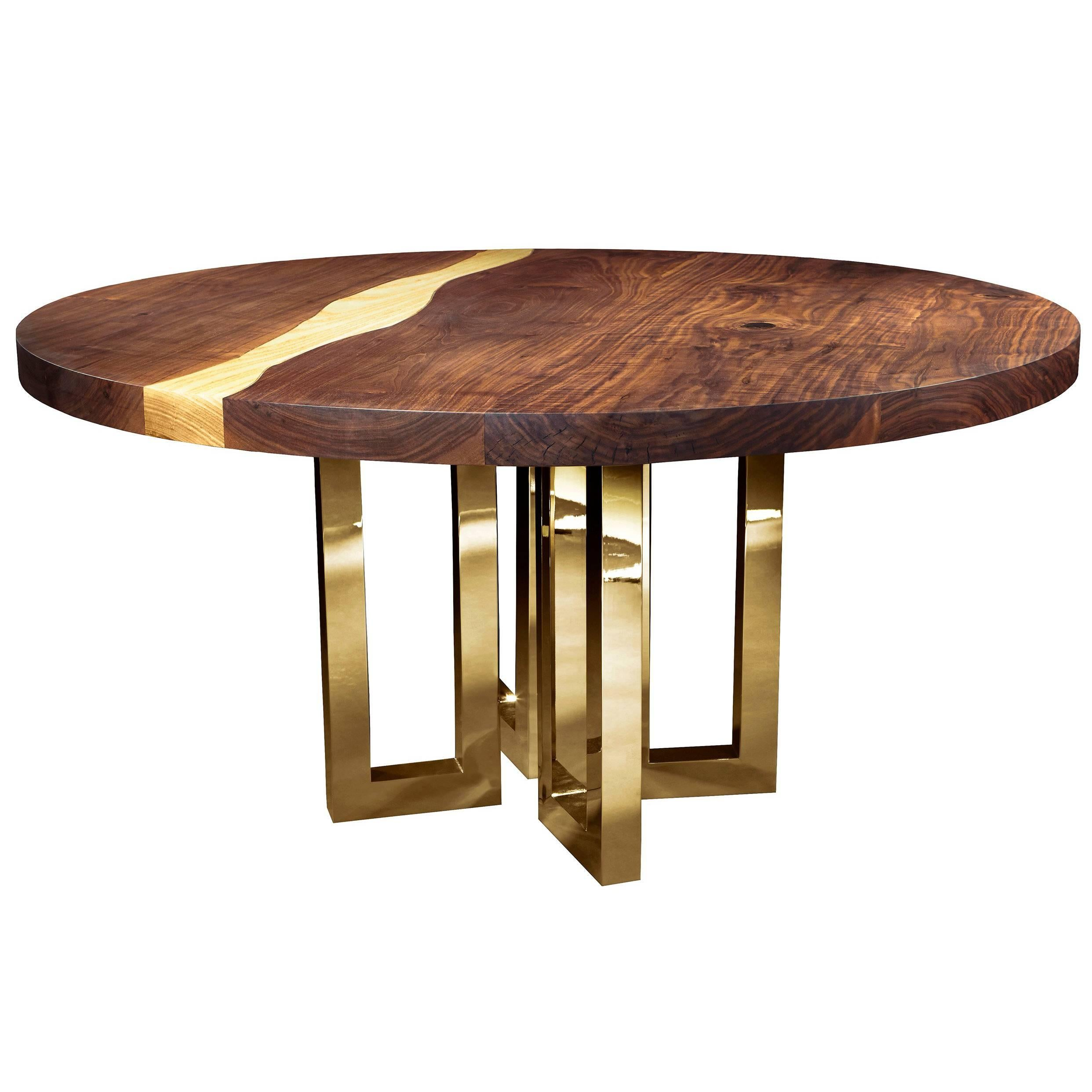 """""""Il Pezzo 6 Round Table"""" Contemporary Design Solid Wood Table with Gold Base"""