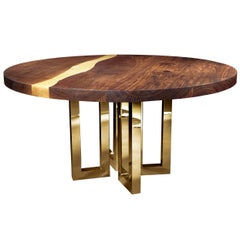 """Il Pezzo 6 Round Table"" contemporary design solid wood table with gold base"