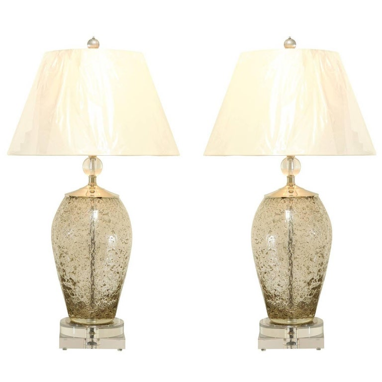 Gorgeous Pair of Italian Blown Glass Lamps with Lucite and Brass Accents