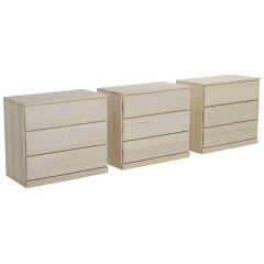 Three White Bleached Oak Three-Drawer Chest of Dressers by L. Ronney and Sons