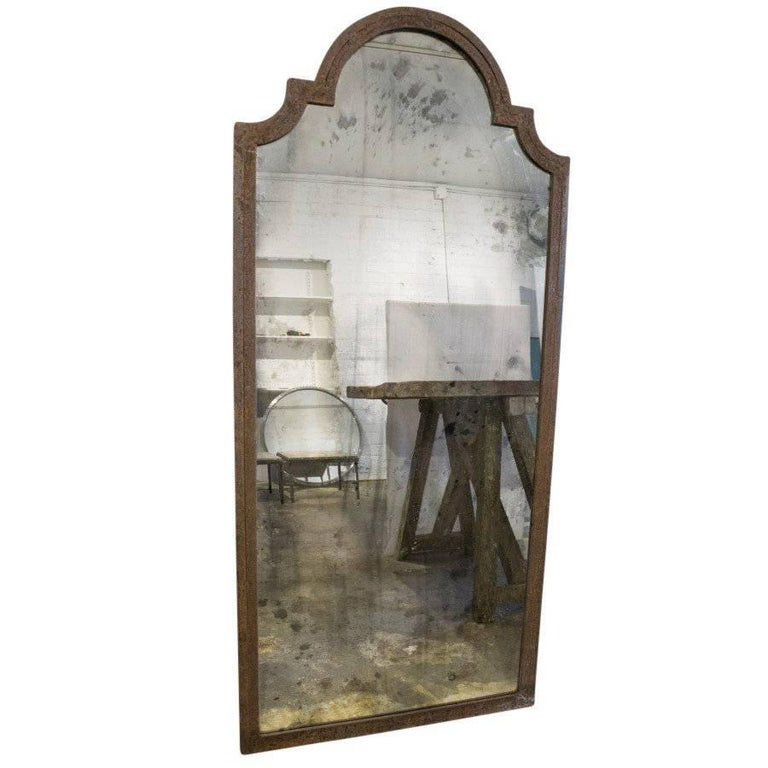 Vintage French Mercury Mirrors in Iron Window Frames at 1stdibs