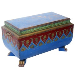 Painted Sarcophagus Side Table or Footstool