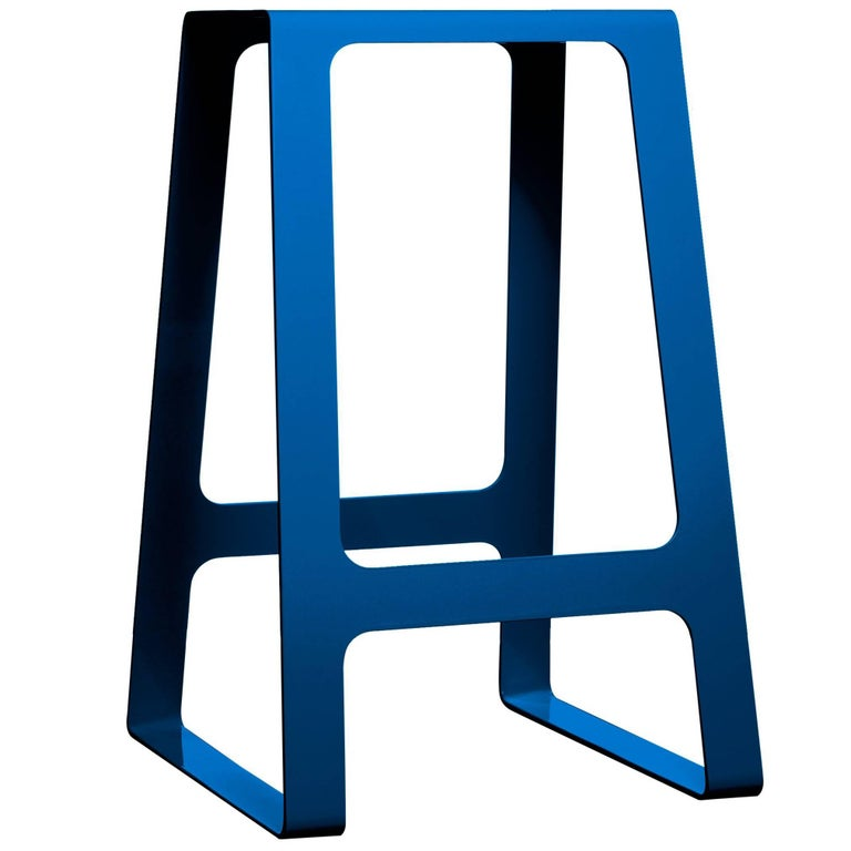 A_Stool Powder Coated Aluminum Counter Height in Signal Blue by Jonathan Nesci For Sale