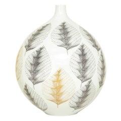 Hutschenreuther Porcelain Vase Leaf White Gray Gold Signed Germany, 1960s