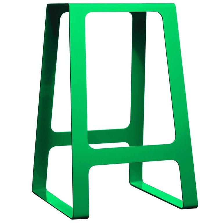 A_Stool Powder Coated Aluminum Counter Height in Traffic Green by Jonathan Nesci