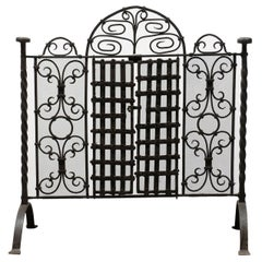 French 19th Century Wrought-Iron Firescreen with Operational Doors and Arch
