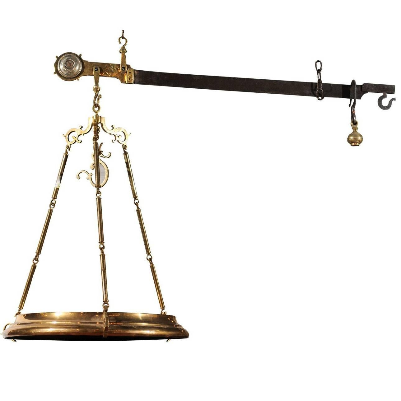 French Brass Hanging Butcher's Scale with Circular Tray from the 19th Century