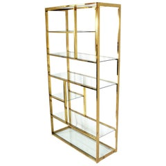 Brass Bookcase in the Manner of Milo Baughman