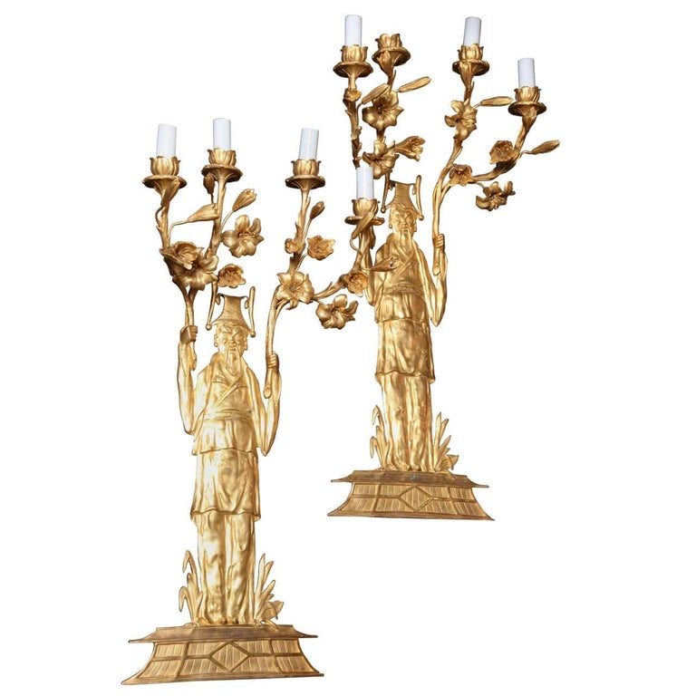 Pair of Fine French, Doré Bronze Chinoiserie Style, Four-Light Wall Appliqués
