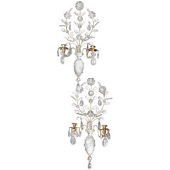 Pair of French Louis XVI Style Gilt Bronze and Cut Rock Crystal Sconces