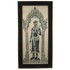 Large Thai Temple Rubbing on Handmade Paper of Woman Standing in Archway