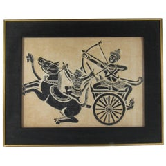 Thai Temple Rubbing on Handmade Paper Depicting Warriors in a Chariot
