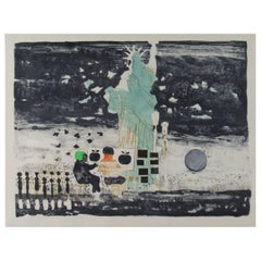 Dong Moy Kingman New York City View with Statue of Liberty Color Watercolor