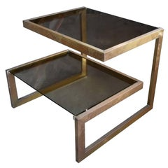 1980s Bronze Two Shelf Auxiliary Table