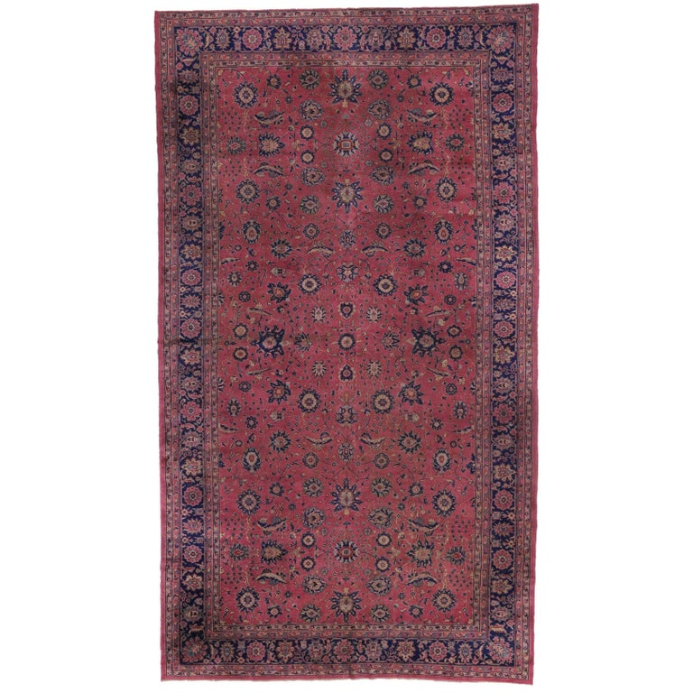 Antique Turkish Sparta Gallery Rug, Raspberry Pink and Navy Blue