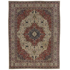 Antique Indian Agra Rug with a Persian Design and English Tudor Style