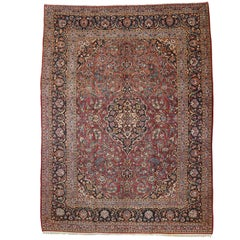 Antique Persian Kashan Rug with Traditional Old World Style in Warm Colors