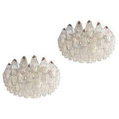 Pair of Poliedri Chandeliers by Venini