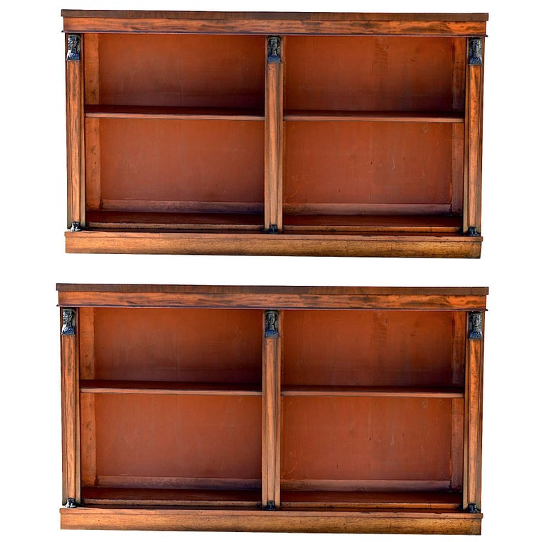 19th Century English Egyptian Revival Bookcases of Mahogany, Pair